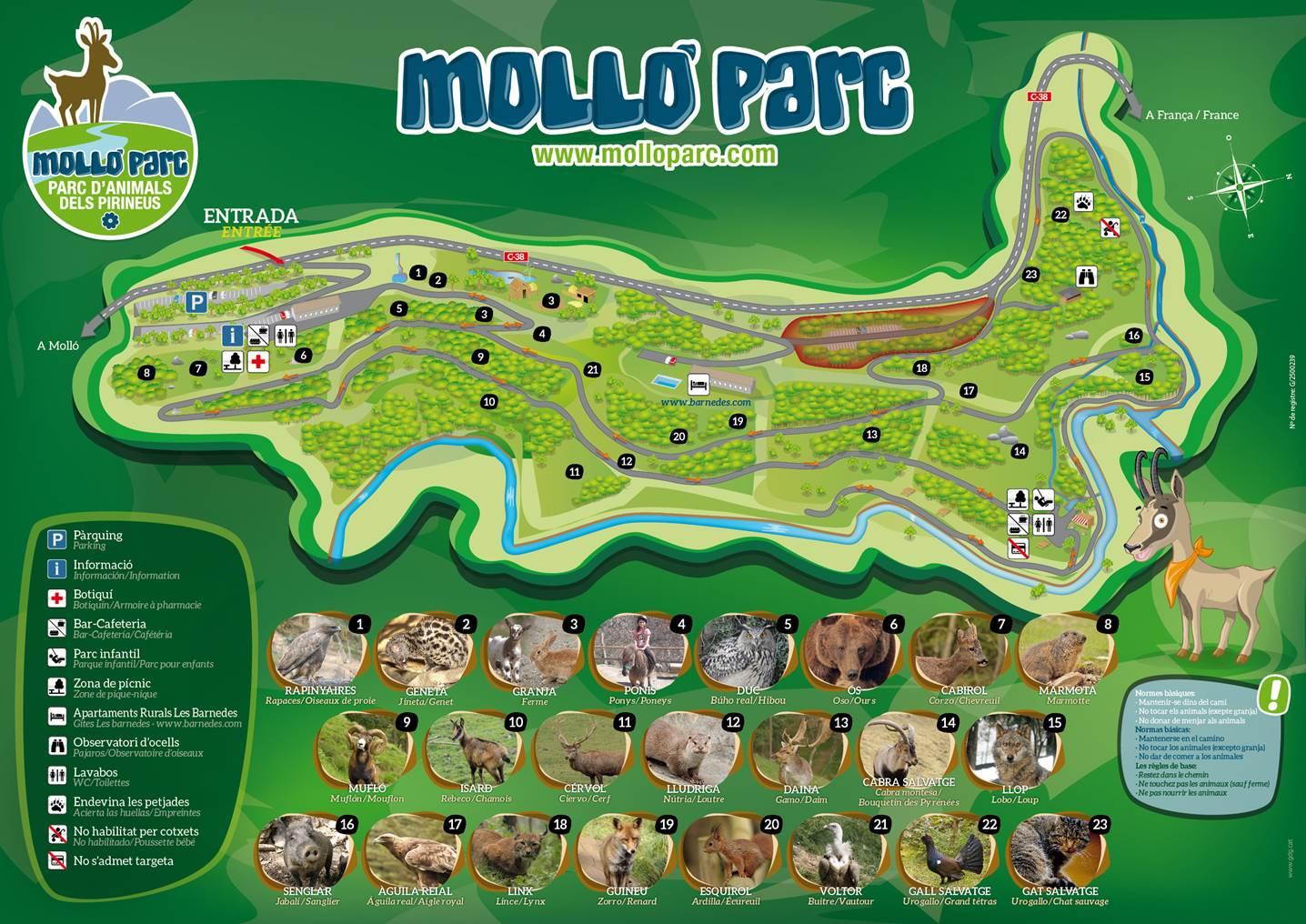 Mapa interactivo de los animales de Molló Parc